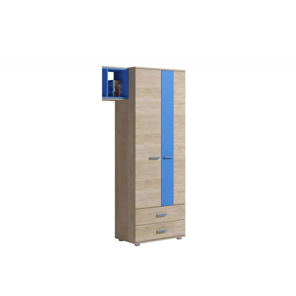 Шкаф для одежды 2 двери 2 ящика FORMULA Дуб Сонома/Голубой