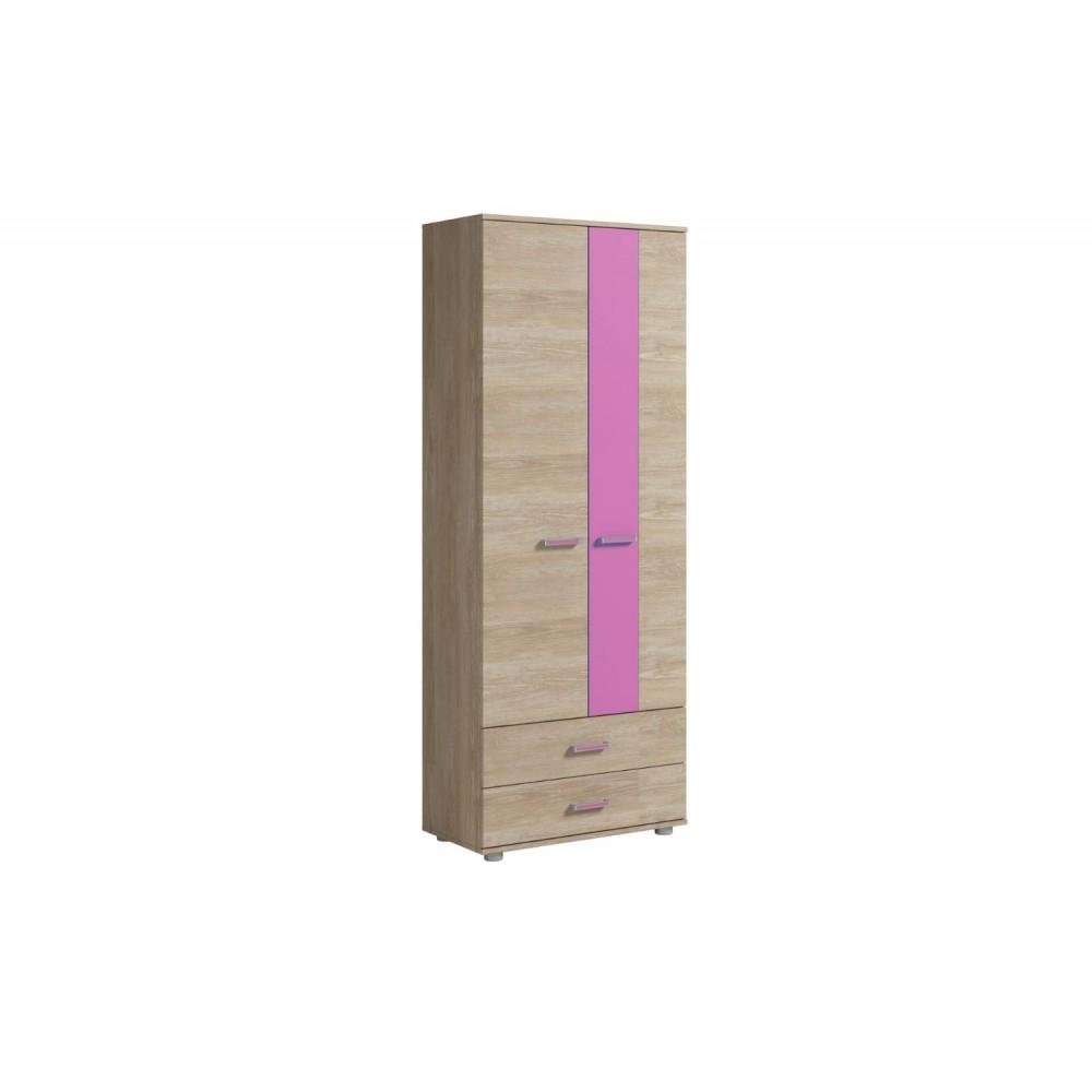 Шкаф для одежды 2 двери 2 ящика FORMULA Дуб Сонома/Розовый