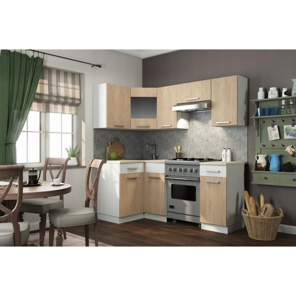 Кухонный гарнитур АЛИСА 12 угловая Белый/Дуб Сонома