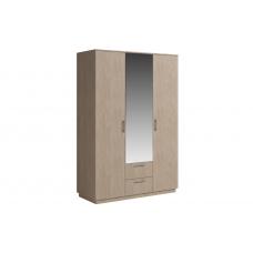 Шкаф 3 двери с зеркалом с ящиками SVETLANA Белый/Дуб сонома