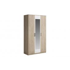 Шкаф 3 двери с зеркалом SVETLANA Белый/Дуб сонома