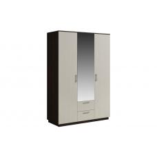 Шкаф 3 двери с зеркалом с ящиками SVETLANA Венге/Дуб молочный