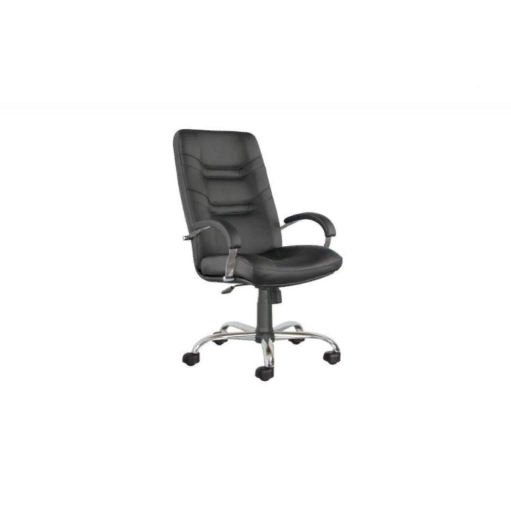 Кресло руководителя Minister steel chrome PU01 черный